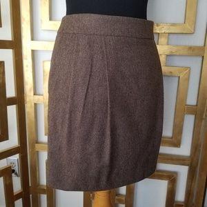 Michael Kors Italy Brown Wool Mini Skirt 12 Melang